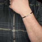 "Jt Silver men's ""Μπαμπάς"" (""Dad"" in greek) bracelet macrame"