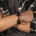 SL Leather and steel hammer men's bracelet