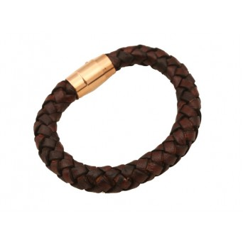 Jt Men's Genuine Leather Stainless Steel Lock Bracelet