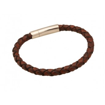 Jt Men's Brown Genuine Leather Stainless Steel Lock Bracelet