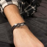 Jt Steel brown men's bracelet with a hook