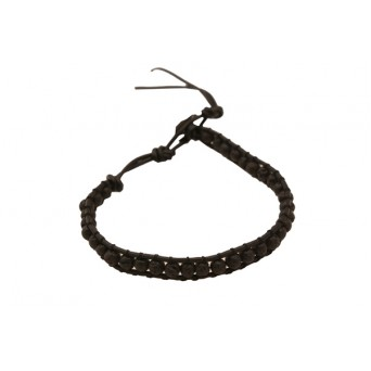Jt Men΄s Silver Black Lava Beaded Bracelet