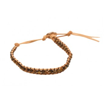 Jt Men's Silver Tiger Eye Beaded Bracelet
