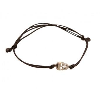 Jt Men`s Silver Skull Charm Bracelet