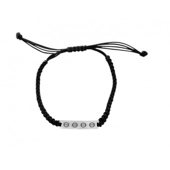 Jt Men`s Silver Macrame screw Id Bracelet
