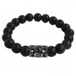 Jt stainless steel men's bracelet with black gemstones