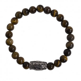 Jt stainless steel men's bracelet with brown gemstones