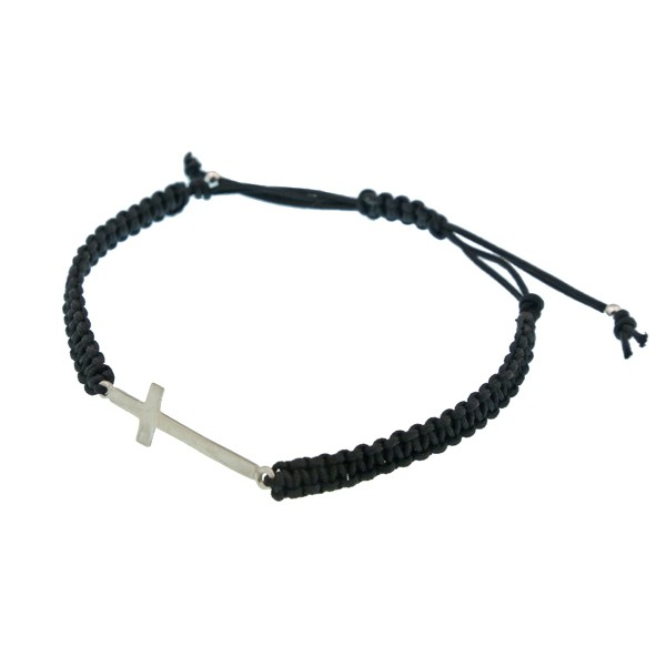 Jt Men's Silver Macrame Cross Bracelet