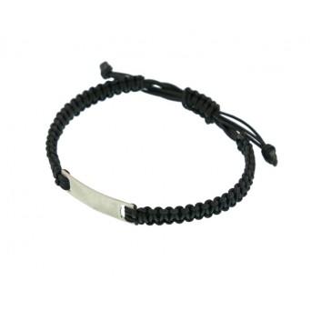 Jt Men's Silver Macrame ID Matte Finish Bracelet