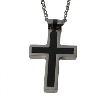 Jt Steel men's cross necklace