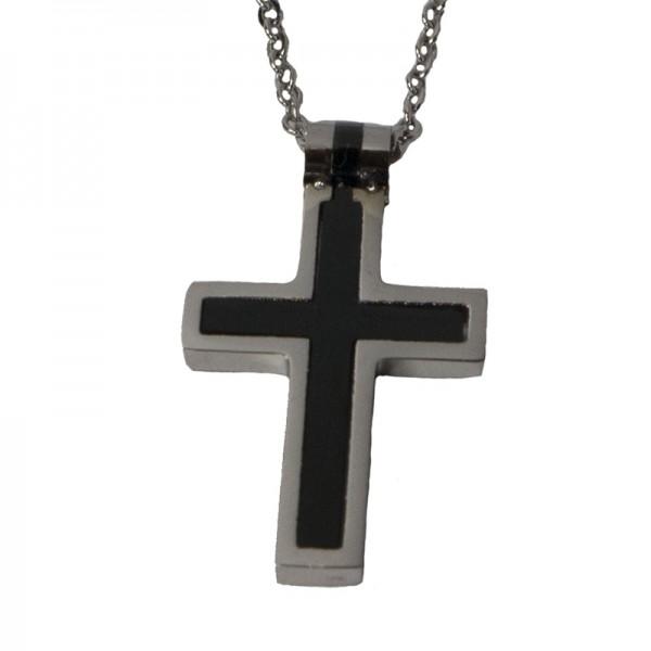 Jt Steel men's cross necklace