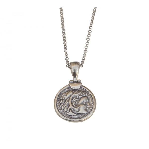 Jt Silver Double Sided Coin Necklace Alexander The Great