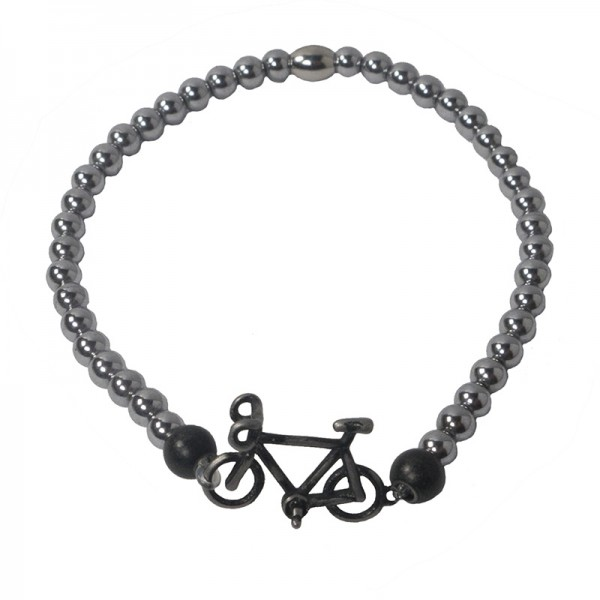 Jt Men's black steel bicycle bracelet