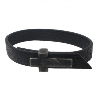 Jt Men's black leather cross bracelet