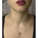 Jt Kολιέ ανοιχτή καρδιά σε ροζ ασήμι
