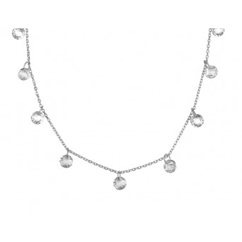 Jt Sterling Silver Tranparent Swarovski Necklace