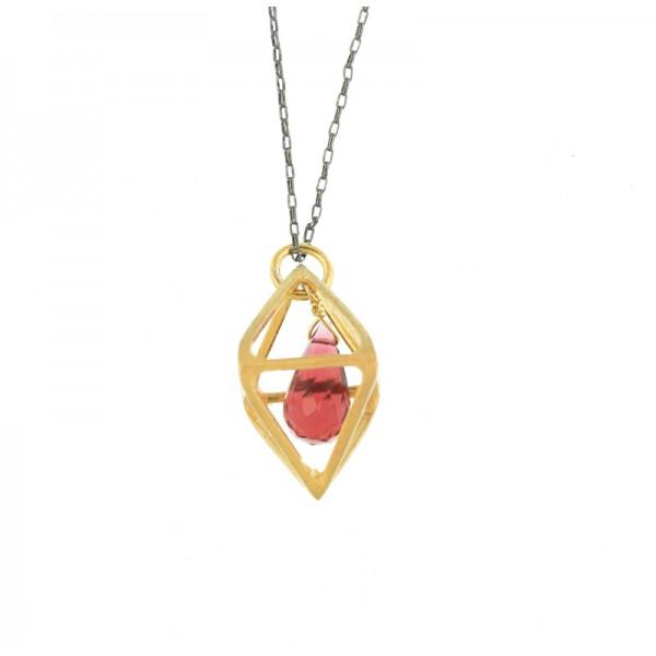 Jt Handmade polygon silver necklace with Swarovski