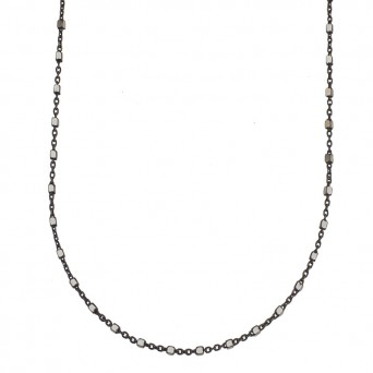 Jt Black silver thin chain small cubes necklace