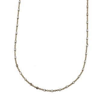 Jt Gold plated silver thin chain small cubes long necklace