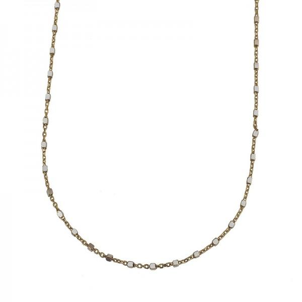 Jt Ασημένια μακριά χρυσή αλυσίδα κολιέ μικροί κύβοι