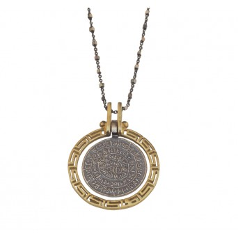 Jt Silver Faistos Disc and Greek Meander Necklace
