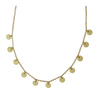 Jt Gold plated silver coin boho necklace