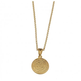 Jt Gold Plated Silver Double Sided Faistos Disc Necklace