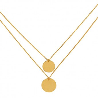 Jt Gold plated silver double coin necklace