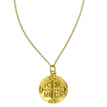 Jt Gold Plated Silver Double Sided Konstantine Coin Necklace