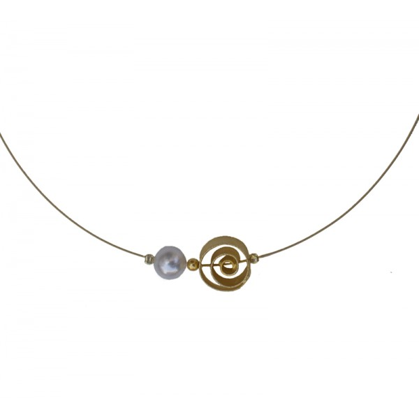 Jt Gold plated silver spiral charm collar necklace