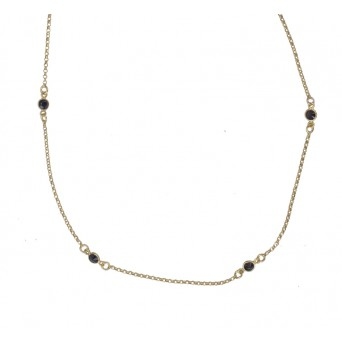 Jt Gold plated silver chain necklace with round zirconia