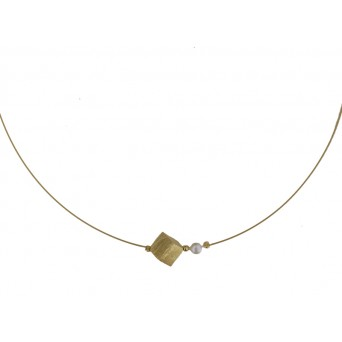 Jt Gold plated silver rhombus charm collar necklace