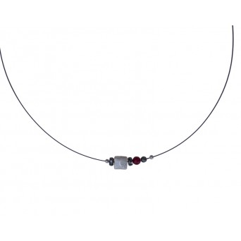 Jt Silver cube charm collar necklace with red coral