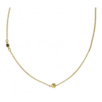 Jt Silver gold chain necklace with cube and round zirconia