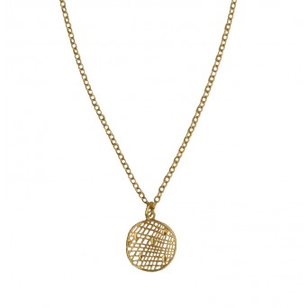 Jt Gold plated silver net coin necklace