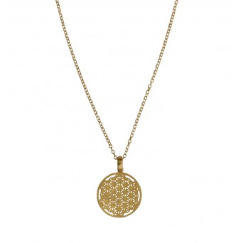 Jt Gold plated silver life flower coin necklace
