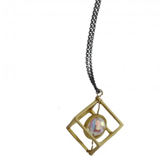Jt Handmade gold plated silver cybe necklace with Swarovski