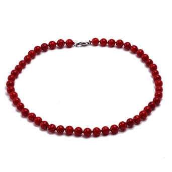 Jt Sterling Silver Red Corals Beaded Necklace