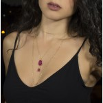 Jt Silver teardrop gold plated necklace with ruby seliminite