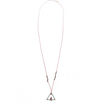 Jt Handmade black triangle silver Y necklace