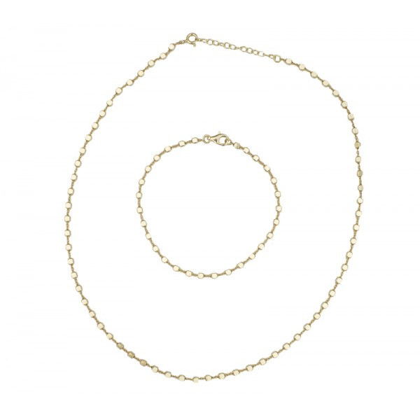 Jt Gold plated silver chain set bracelet and necklace