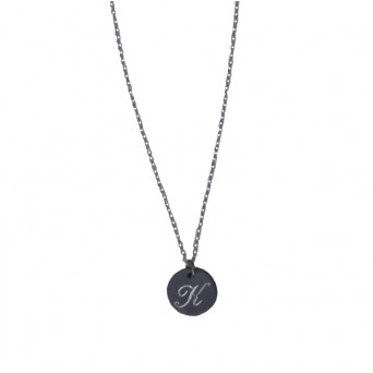 Jt Silver black rodium coin monogram necklace