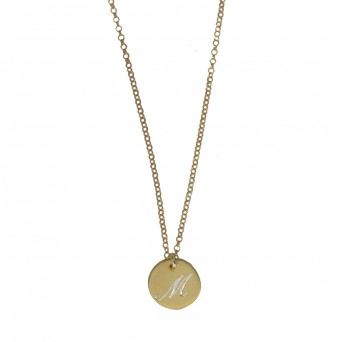 Jt Gold plated silver coin monogram necklace