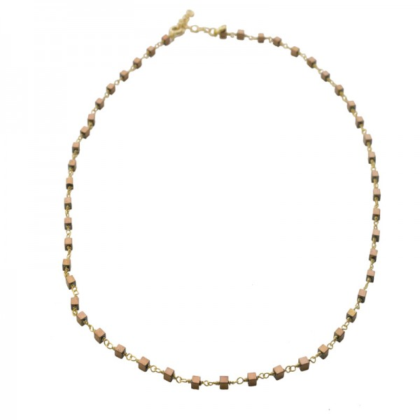 Jt Gold plated silver rosary necklace with golden hematites