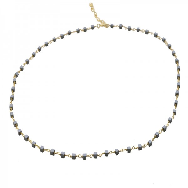 Jt Gold plated silver rosary necklace with grey hematites