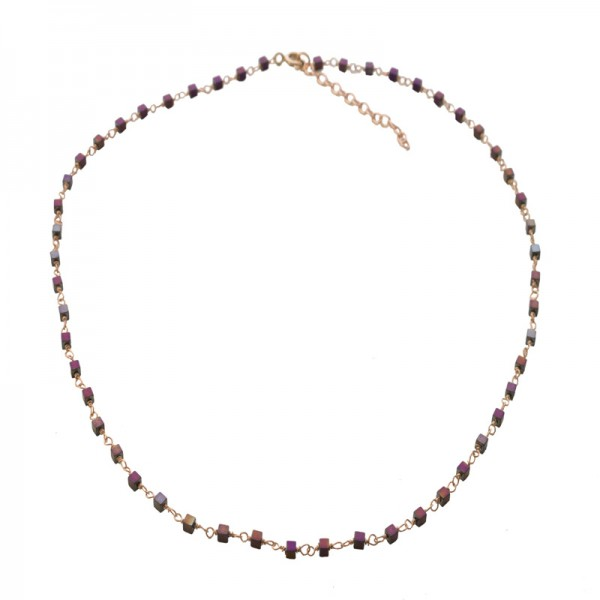Jt Rose gold silver rosary necklace with grey - fuchsia hematites