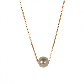 Jt Rose sterling silver white shell pearl solitaire necklace