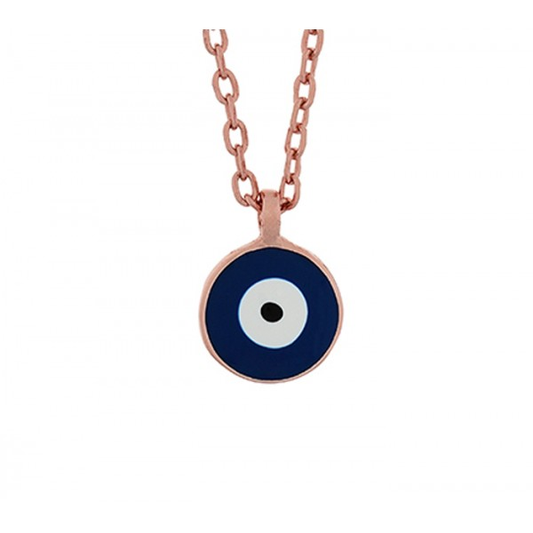 Jt Rose silver chain round target eye enamel necklace