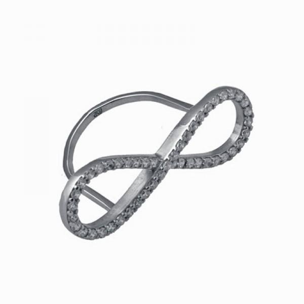 Jt Ασημένιο δαχτυλίδι άπειρο με λευκά ζιργκόν