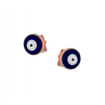 Jt Rose Silver Stud Round Eye Earrings with blue enamel